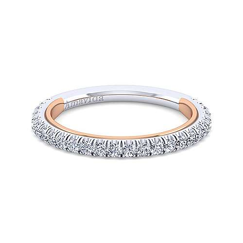 Gabriel - 18k White And Rose Gold Contemporary Straight Wedding Band