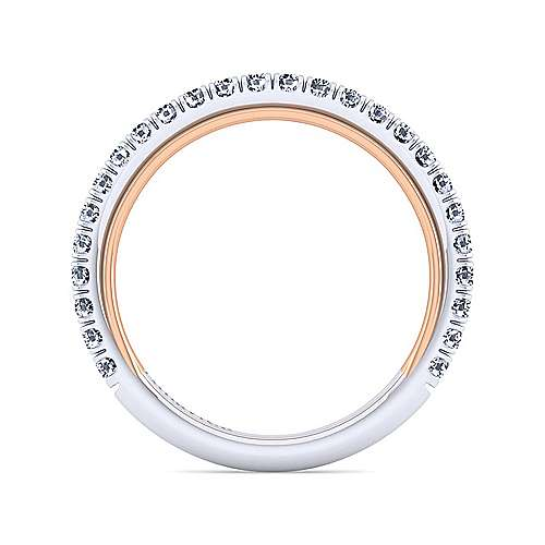 18k White And Rose Gold Contemporary Straight Wedding Band angle 2