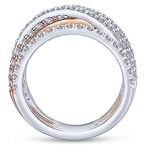 18k White And Rose Gold Contemporary Wide Band Ladies' Ring angle 2