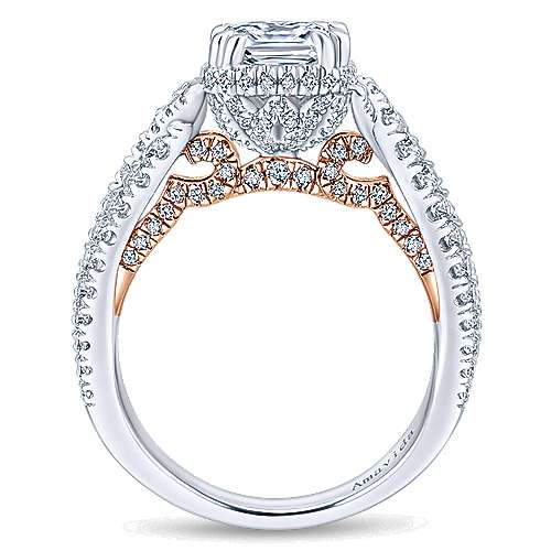 18k White And Rose Gold Cushion Cut Halo Engagement Ring angle 2