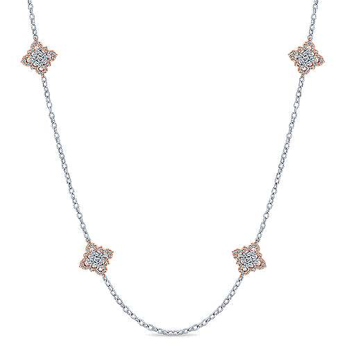 Gabriel - 18k White And Rose Gold Endless Diamonds Station Necklace