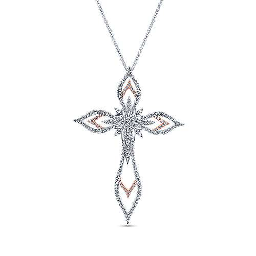 18k White And Rose Gold Faith Cross Necklace angle 1