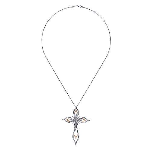 18k White And Rose Gold Faith Cross Necklace angle 2