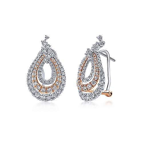 18k White And Rose Gold Lusso Drop Earrings angle 1