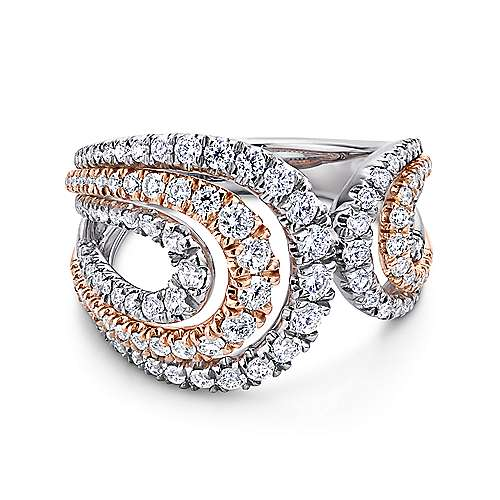 Gabriel - 18k White And Rose Gold Lusso Wide Band Ladies' Ring