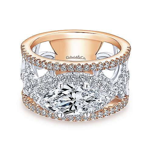 Gabriel - 18k White And Rose Gold Marquise  Halo Engagement Ring