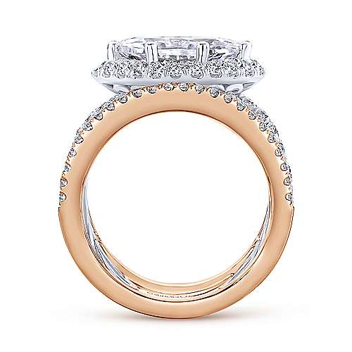 18k White And Rose Gold Marquise  Halo Engagement Ring angle 2
