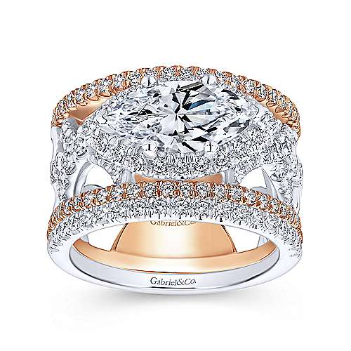 18k White And Rose Gold Marquise  Halo Engagement Ring angle 4