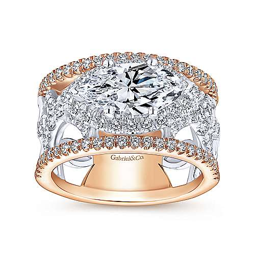 18k White And Rose Gold Marquise  Halo Engagement Ring angle 5