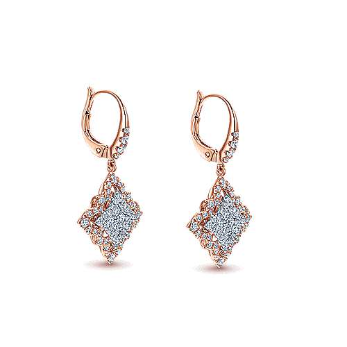 18k White And Rose Gold Mediterranean Drop Earrings angle 2