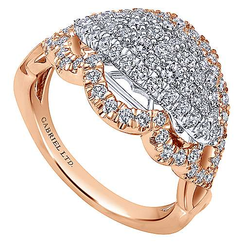 18k White And Rose Gold Mediterranean Fashion Ladies' Ring angle 3