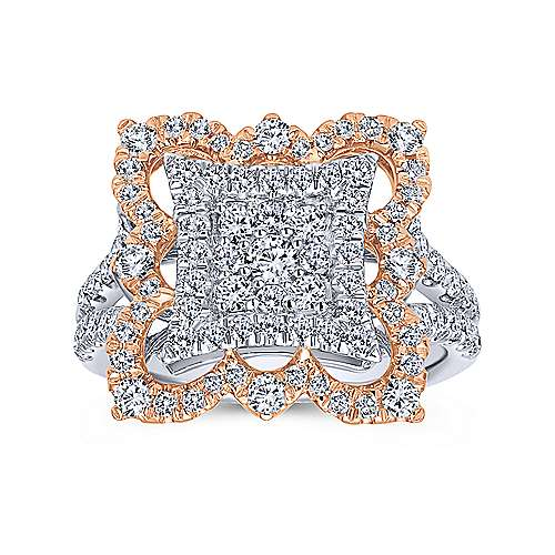 18k White And Rose Gold Mediterranean Fashion Ladies' Ring angle 4