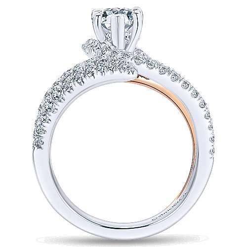 18k White And Rose Gold Pear Shape Halo Engagement Ring angle 2