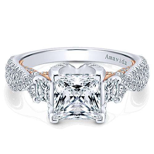 Gabriel - 18k White And Rose Gold Princess Cut 3 Stones Engagement Ring