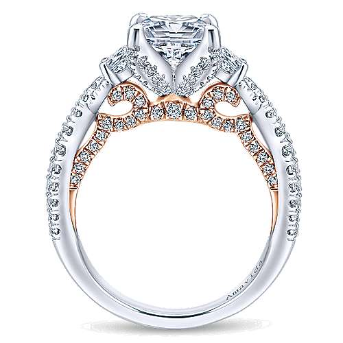 18k White And Rose Gold Princess Cut 3 Stones Engagement Ring angle 2