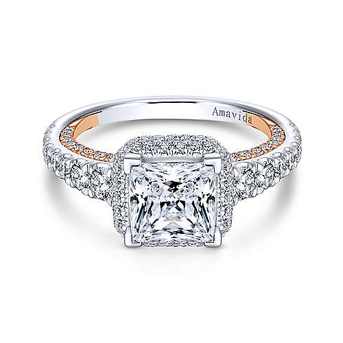 Gabriel - 18k White And Rose Gold Princess Cut Double Halo Engagement Ring