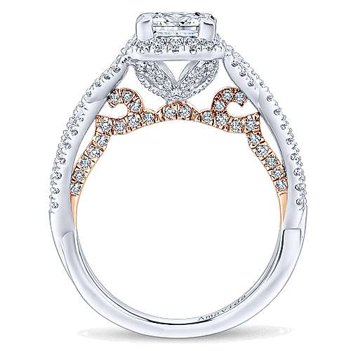 18k White And Rose Gold Princess Cut Halo Engagement Ring angle 2