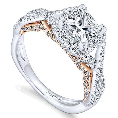 18k White And Rose Gold Princess Cut Halo Engagement Ring angle 3