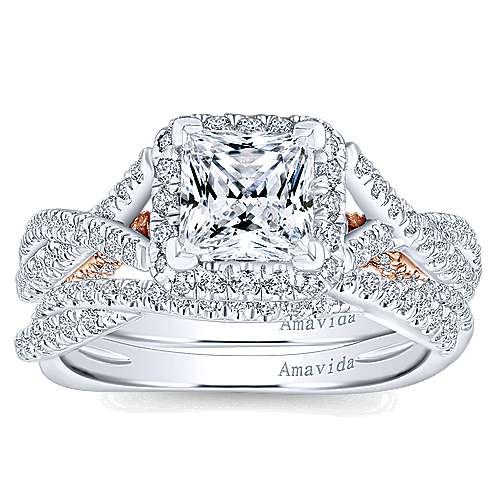 18k White And Rose Gold Princess Cut Halo Engagement Ring angle 4