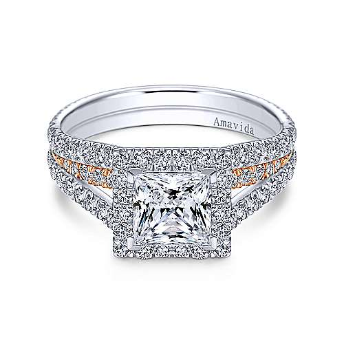 Gabriel - 18k White And Rose Gold Princess Cut Halo Engagement Ring