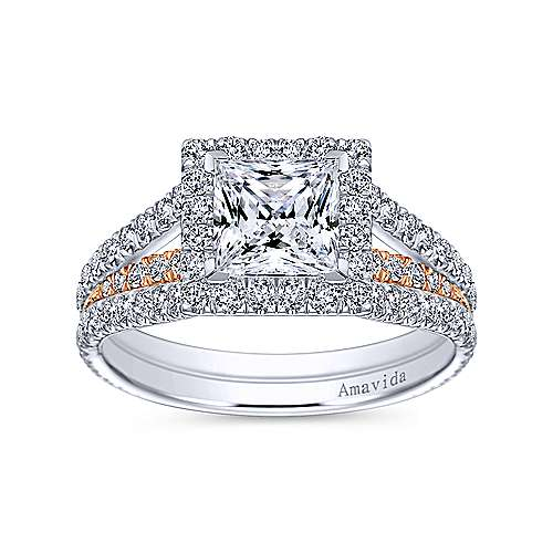 18k White And Rose Gold Princess Cut Halo Engagement Ring