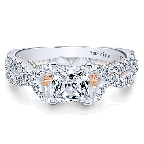 Gabriel - 18k White And Rose Gold Princess Cut Twisted Engagement Ring