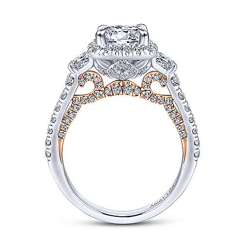 18k White And Rose Gold Round 3 Stones Halo Engagement Ring angle 2