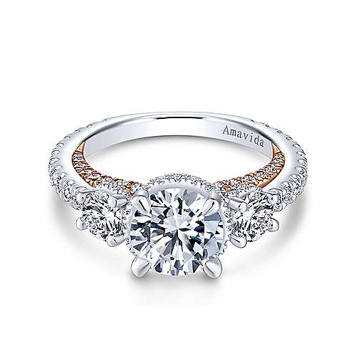 Gabriel - 18k White And Rose Gold Round 3 Stones Halo Engagement Ring