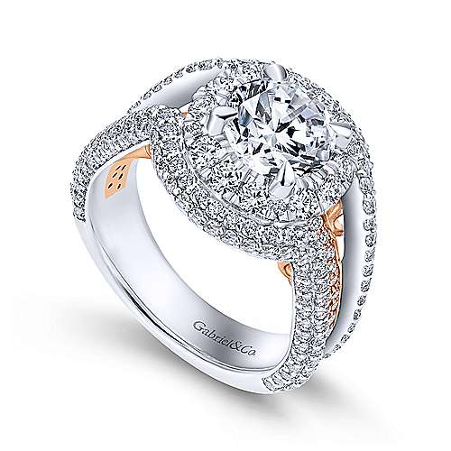 18k White And Rose Gold Round Double Halo Engagement Ring angle 3