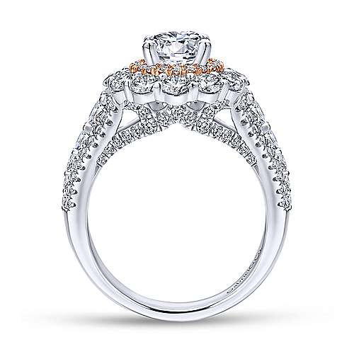 18k White And Rose Gold Round Double Halo Engagement Ring angle 2