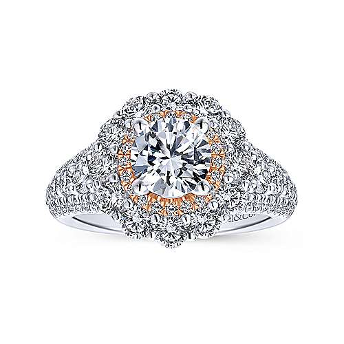 18k White And Rose Gold Round Double Halo Engagement Ring angle 5