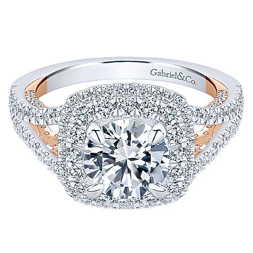 Gabriel - 18k White And Rose Gold Round Double Halo Engagement Ring