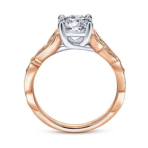 18k White And Rose Gold Round Free Form Engagement Ring angle 2