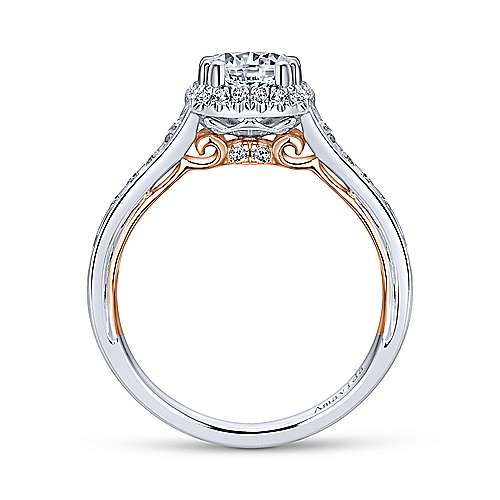 18k White And Rose Gold Round Halo Engagement Ring angle 2