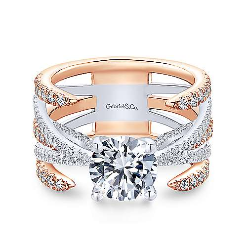 Gabriel - 18k White And Rose Gold Round Split Shank Engagement Ring