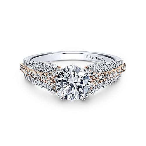 18k White And Rose Gold Round Straight Engagement Ring angle 1