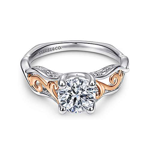 Gabriel - 18k White And Rose Gold Round Twisted Engagement Ring