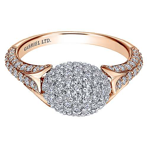 Gabriel - 18k White And Rose Gold Silk Fashion Ladies' Ring