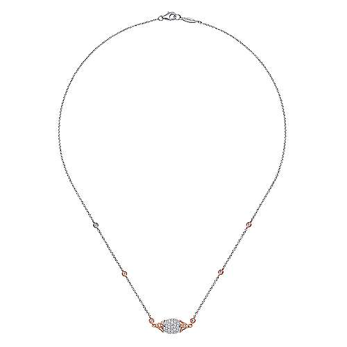 18k White And Rose Gold Silk Fashion Necklace angle 2