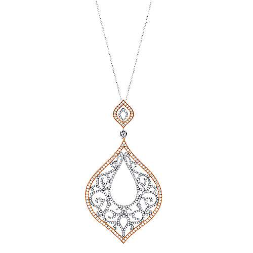 18k White And Rose Gold Victorian Fashion Necklace angle 1