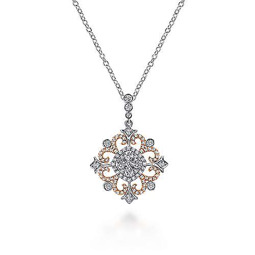 18k White And Rose Gold Victorian Fashion Necklace