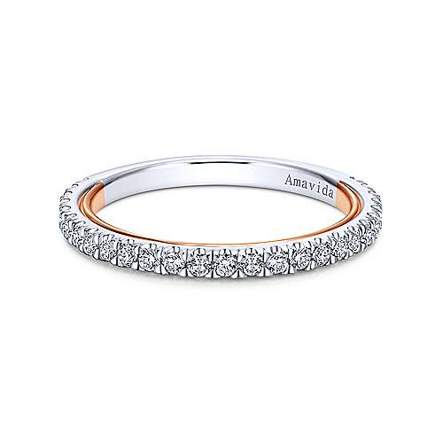 18k White And Rose Gold Victorian Straight Wedding Band