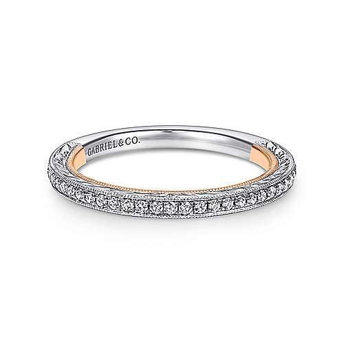 18k White And Rose Gold Victorian Straight Wedding Band angle 1