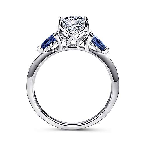 18k White Gold  And Sapphire 3 Stones Engagement Ring angle 2