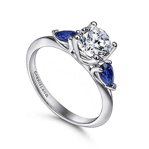 18k White Gold  And Sapphire 3 Stones Engagement Ring angle 3