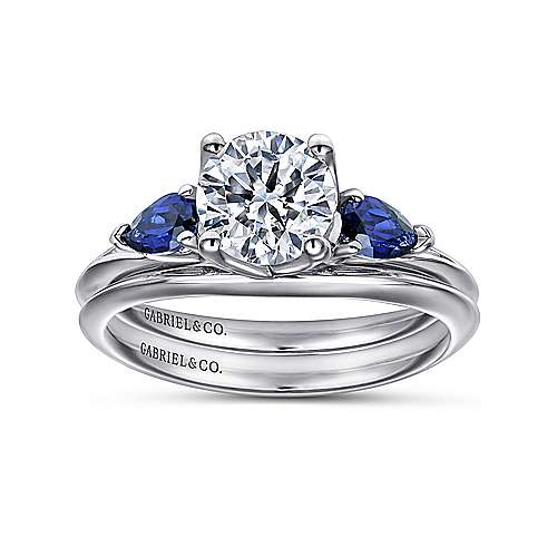 18k White Gold  And Sapphire 3 Stones Engagement Ring angle 4