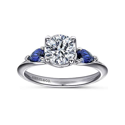 18k White Gold  And Sapphire 3 Stones Engagement Ring angle 5