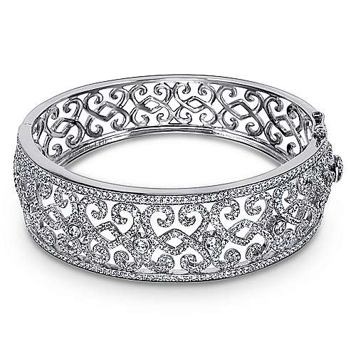 18k White Gold Allure Bangle angle 1