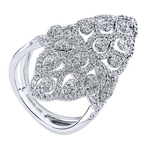18k White Gold Allure Fashion Ladies' Ring angle 3