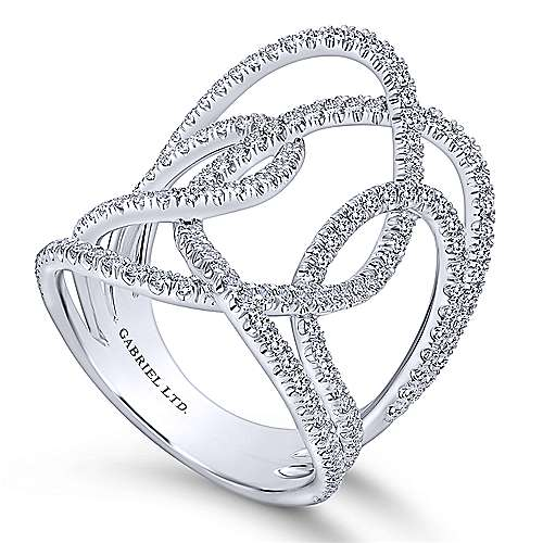 18k White Gold Allure Wide Band Ladies